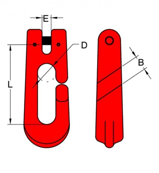 Seil-Chokerhaken GFS mit Gabelkopfaufhängung, geeignet für Forstbetriebe