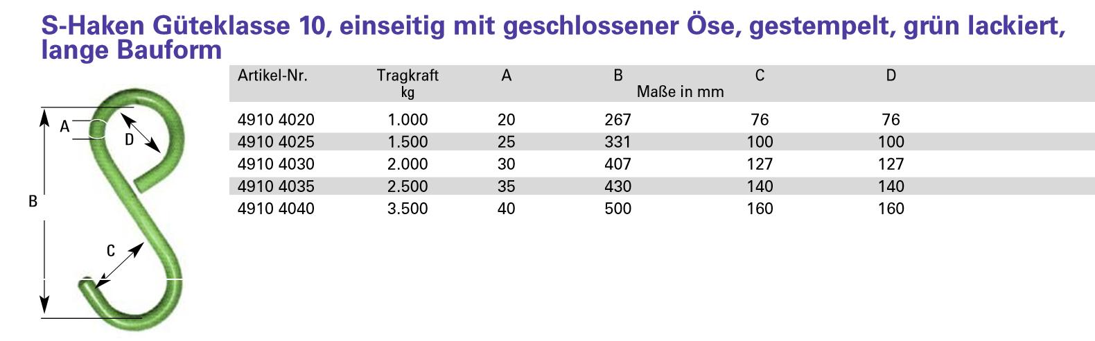 10 St/ück Edelstahl S-Haken in 10 verschiedenen Gr/ö/ßen 300mm