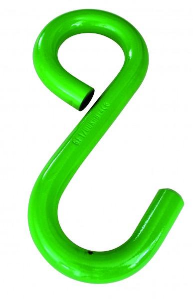 S-Haken Güteklasse 10, einseitig mit geschlossener Öse, gestempelt, grün lackiert
