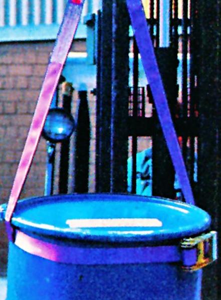 Fassgehänge aus gewebten Hebebändern mit Zurrgurt (PES)