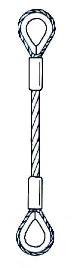 Edelstahl-Anschlagseil mit 2 Kauschen (Abb.302)