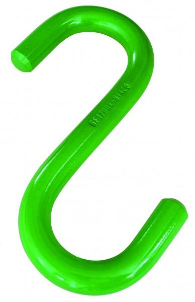 S-Haken Güteklasse 10, offen, gestempelt, grün lackiert