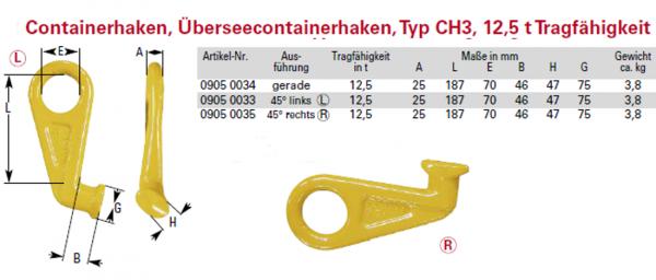 Containerhaken, Überseecontainerhaken, TYP CH3, 12,5 t Tragfähigkeit