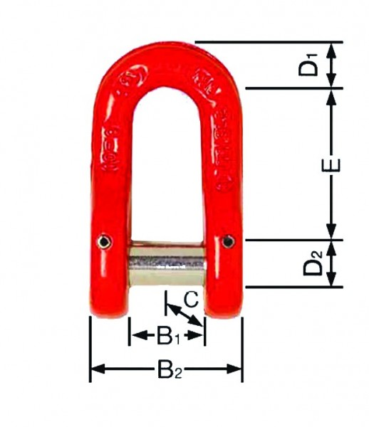 Sonderschäkel 0886 - 6mm/0870 ab 10 mm mit Schlitzbolzen und Splintsicherung
