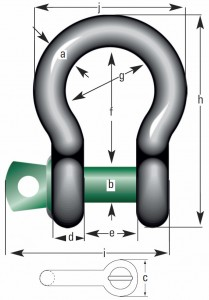 Green Pin Standard-Schäkel geschweift mit Augbolzen