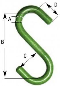 s-haken offen gestempelt grün lange Bauform 49102020